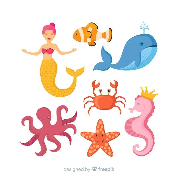 Коллекция красочных персонажей морской жизни Бесплатные векторы