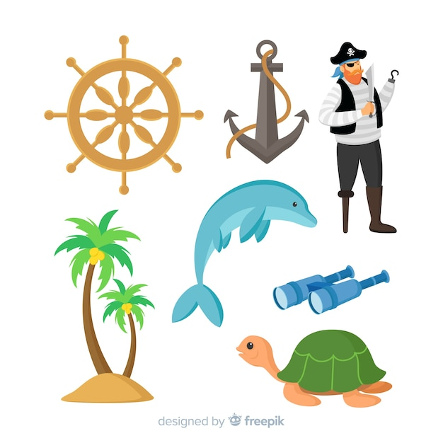 カラフルな海洋生物キャラクターコレクション 無料ベクター