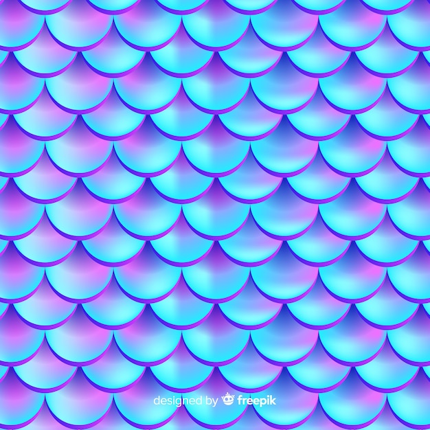 ホログラフィックのリアルな人魚物語の背景 無料ベクター