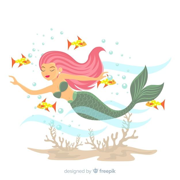 美しい人魚の肖像画フラットデザイン 無料ベクター