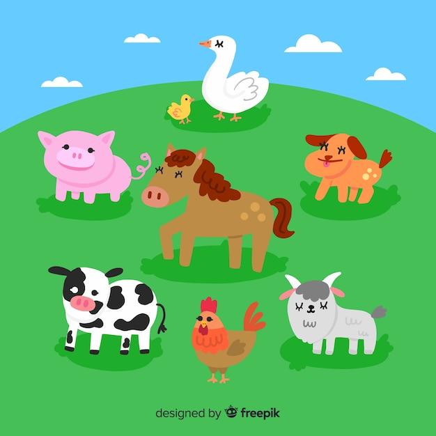 フラットかわいい農場の動物コレクション 無料ベクター