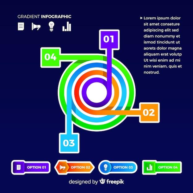 現代の円グラフのグラデーションインフォグラフィック 無料ベクター