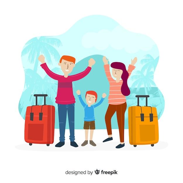 手描き家族旅行の背景 無料ベクター