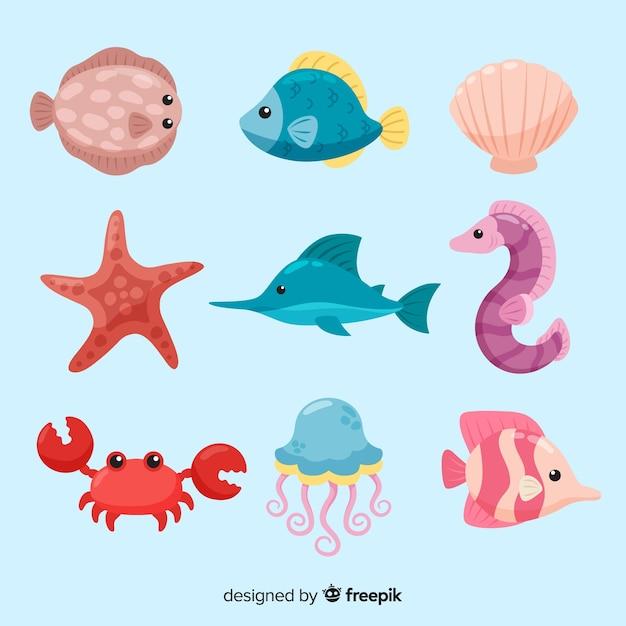 カラフルなかわいい海の動物コレクション 無料ベクター