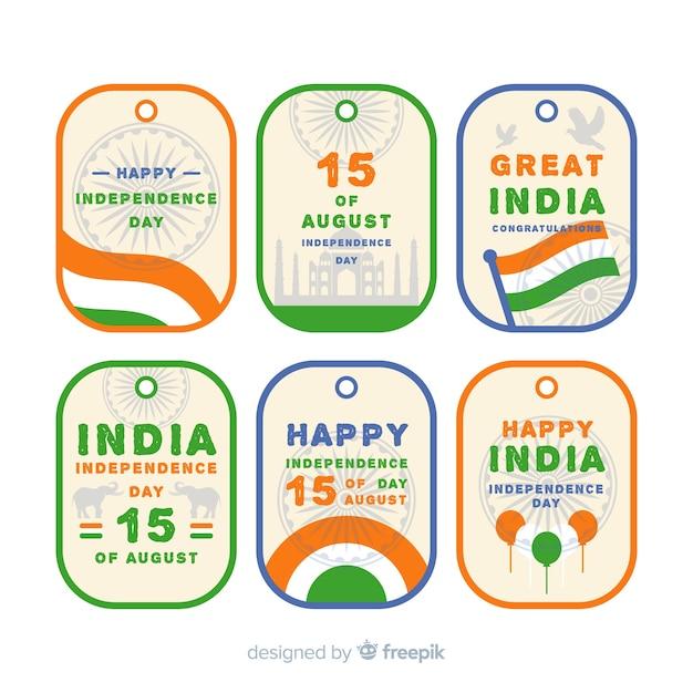 フラットインド独立記念日バッジコレクション 無料ベクター