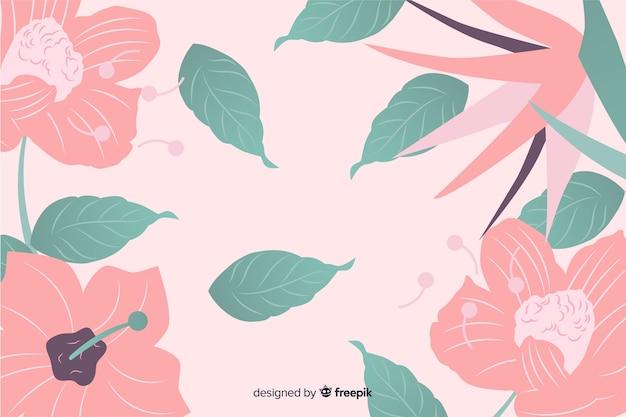 花とカラフルなフラットの背景 無料ベクター
