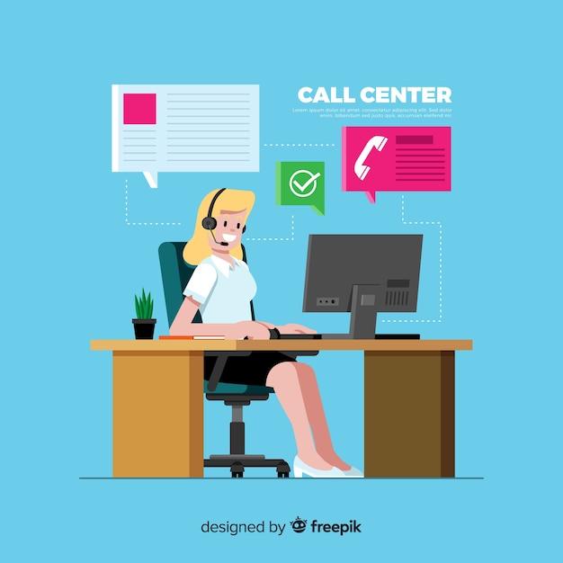 コールセンターの背景フラットデザイン 無料ベクター