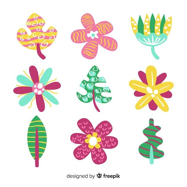 手描きの花と葉のコレクション 無料ベクター