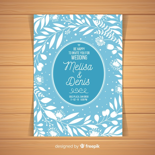 水色の結婚式の招待状のテンプレート 無料ベクター