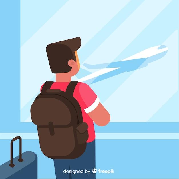 Мальчик путешествует один плоский дизайн Бесплатные векторы