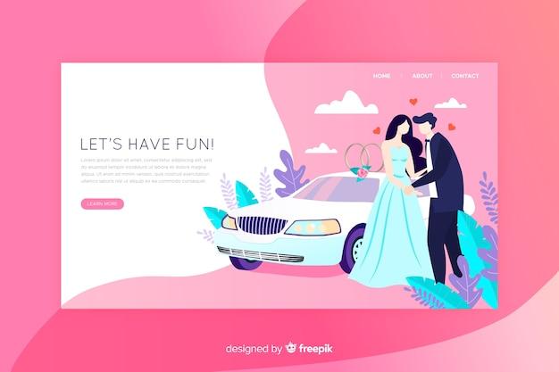 結婚式のランディングページフラットデザイン 無料ベクター