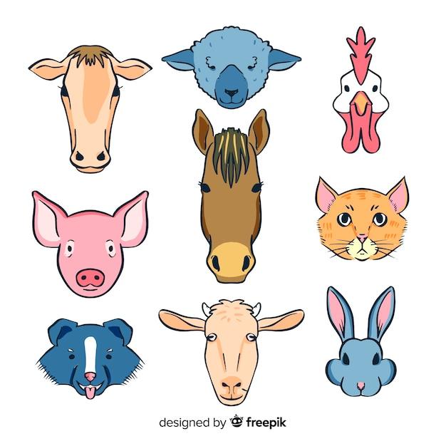 手描きかわいい農場の動物コレクション 無料ベクター