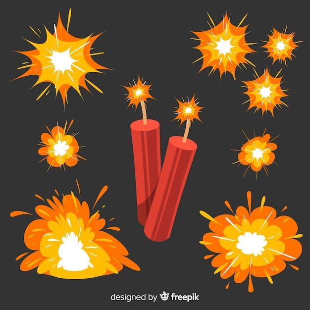 Сборник мультипликационных бомб и взрывов Бесплатные векторы