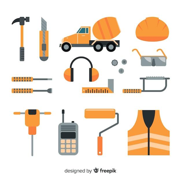 フラット建設機械のコレクション 無料ベクター