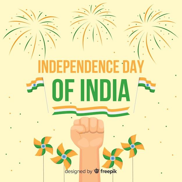 フラットインド独立記念日の背景 無料ベクター