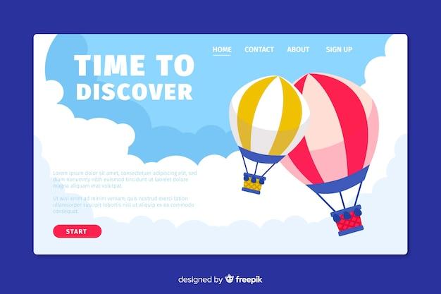 旅行のランディングページフラットデザイン 無料ベクター