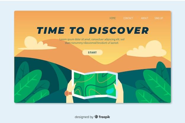 Плоский дизайн целевой страницы путешествия Бесплатные векторы