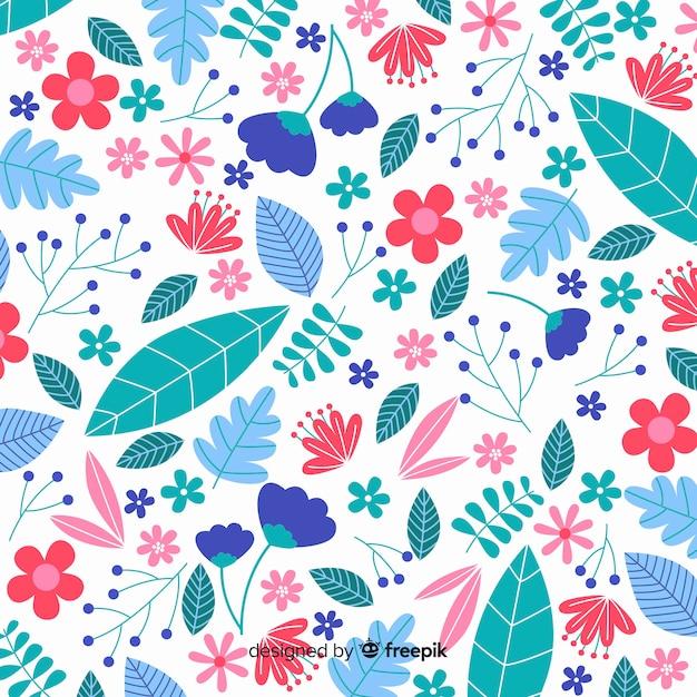 フラットデザインのカラフルな花の背景 無料ベクター