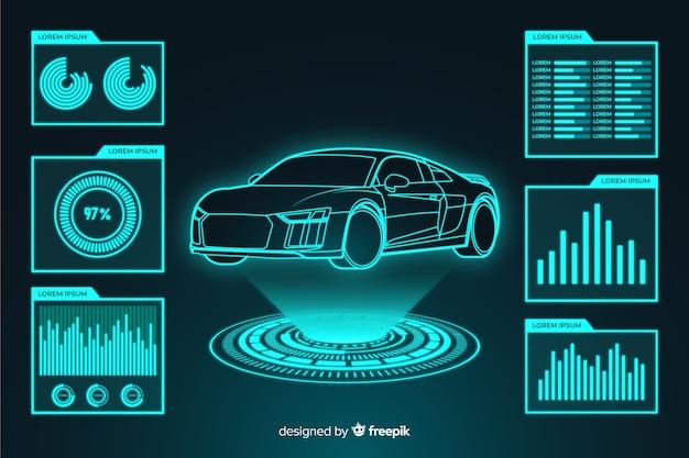 車の未来的なホログラム 無料ベクター