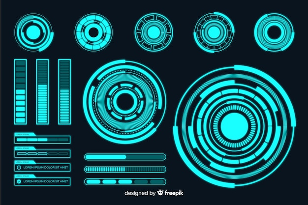Футуристическая голограмма инфографики элемент коллекции Бесплатные векторы