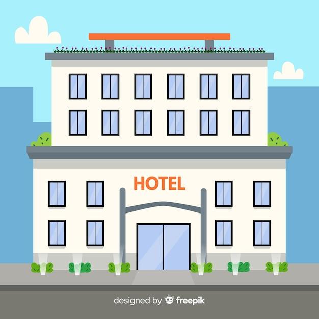 フラットなデザインの豪華なホテルの建物 無料ベクター