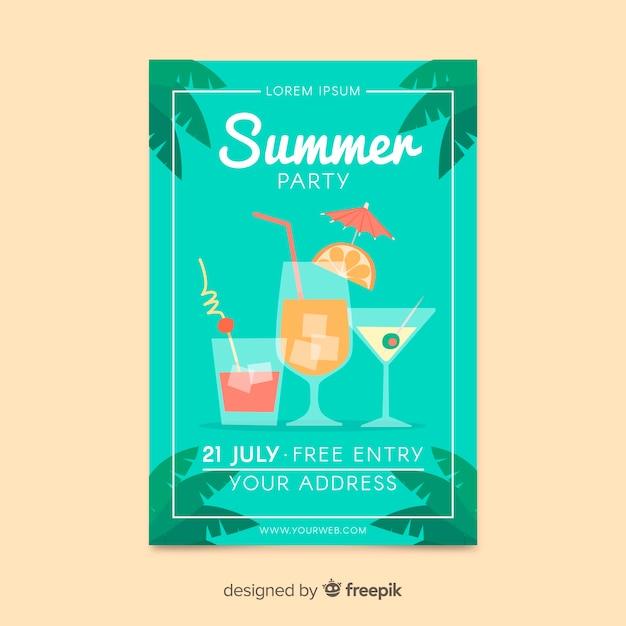 Летняя вечеринка плакат плоский дизайн Бесплатные векторы