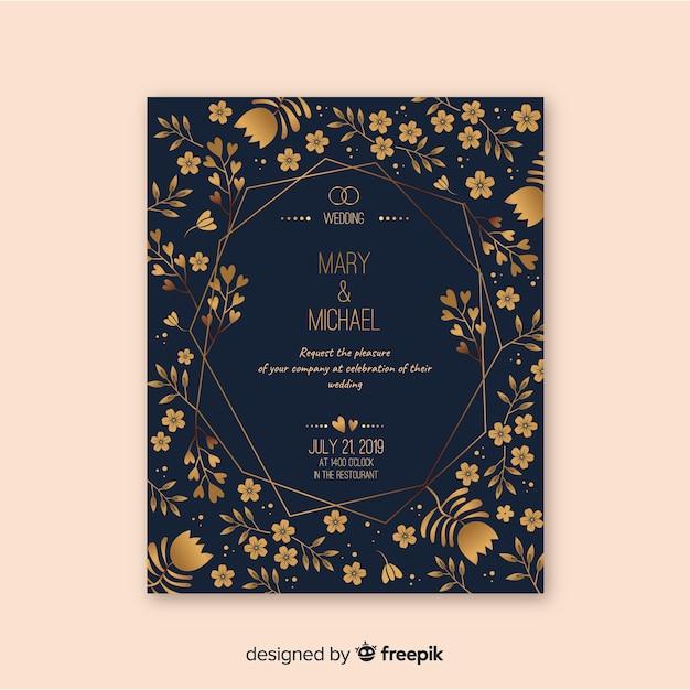 エレガントな花の結婚式の招待状のテンプレート 無料ベクター