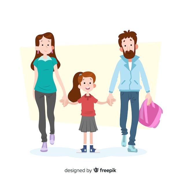 Плоские школьники с родителями Бесплатные векторы