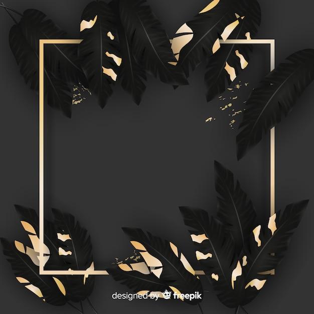 Реалистичные листья с золотой рамкой Бесплатные векторы