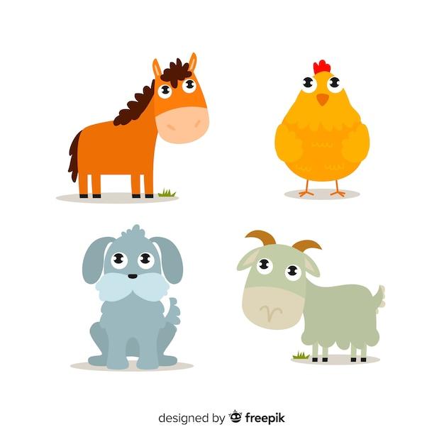 フラットデザイン農場の動物コレクション 無料ベクター