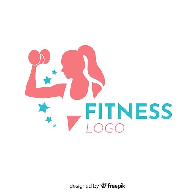 フラットデザインフィットネスのロゴのテンプレート 無料ベクター