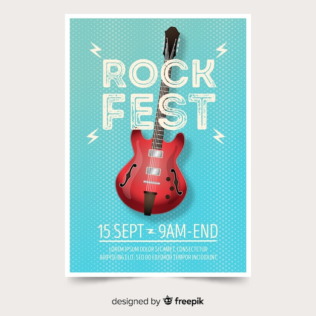 グラデーションイラスト音楽祭ポスター 無料ベクター