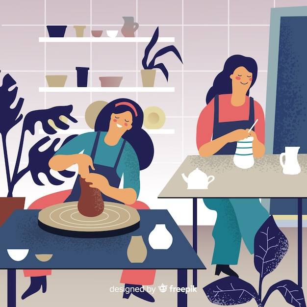 自宅で陶器を作る人 無料ベクター