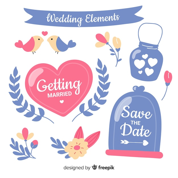 手描きの結婚式の装飾品セット 無料ベクター