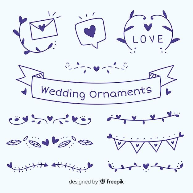 Ручной обращается свадебные украшения набор Бесплатные векторы