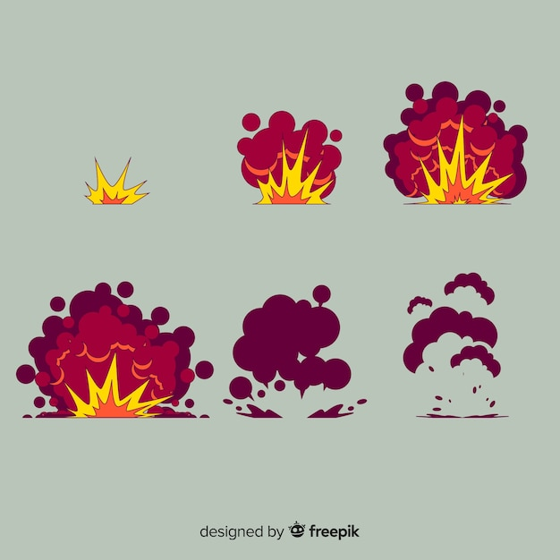 Ручной обращается мультфильм эффект взрыва коллекции Бесплатные векторы