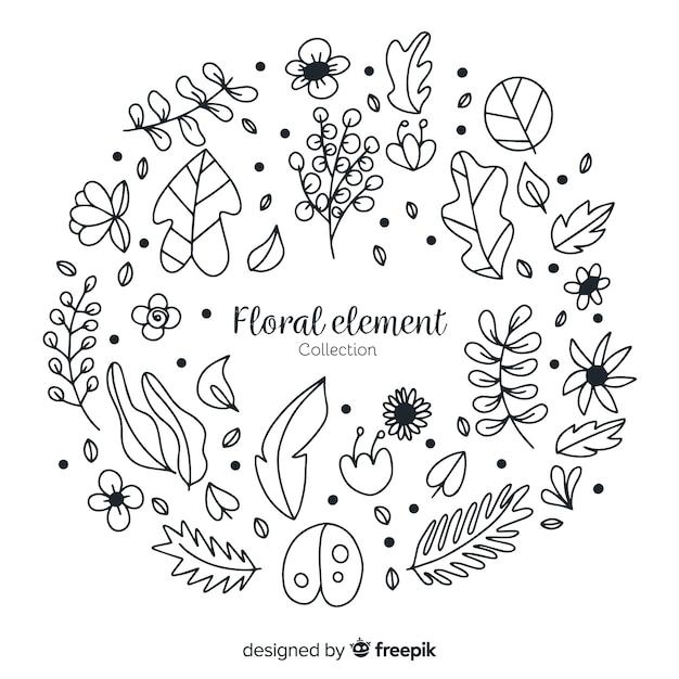 手描きの花飾りの要素 無料ベクター