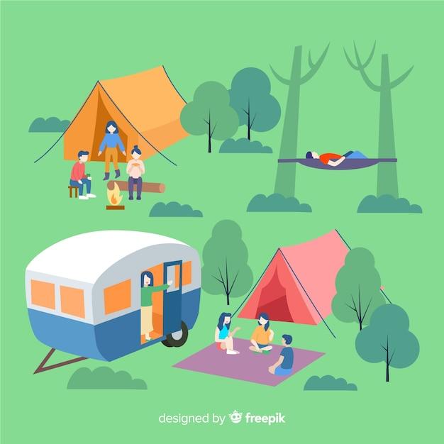 キャンプで休んでいる人 無料ベクター