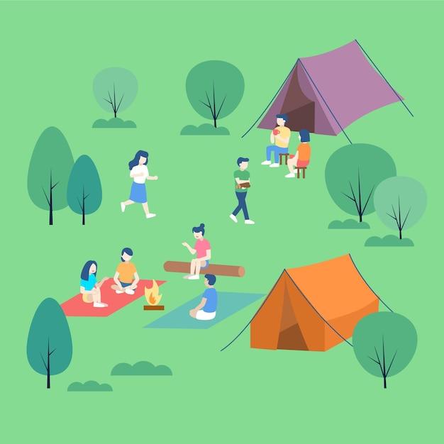 Люди отдыхают в лагере Бесплатные векторы