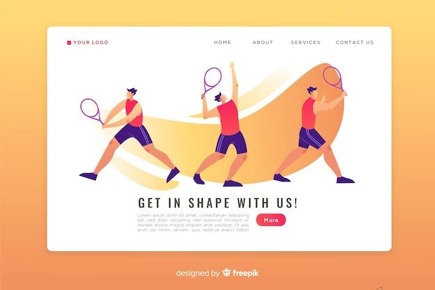 Шаблон плоской спортивной целевой страницы Бесплатные векторы