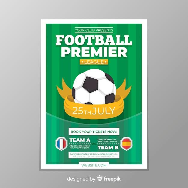 サッカーポスターのフラットテンプレート 無料ベクター