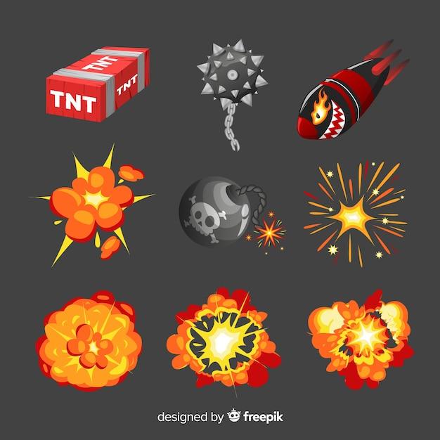 Сборник мультфильмов бомбы и взрыва бомбы Бесплатные векторы