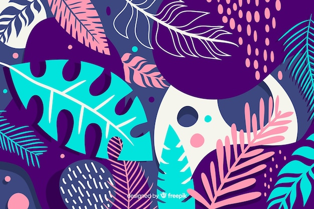 手描きの熱帯の花の背景 無料ベクター
