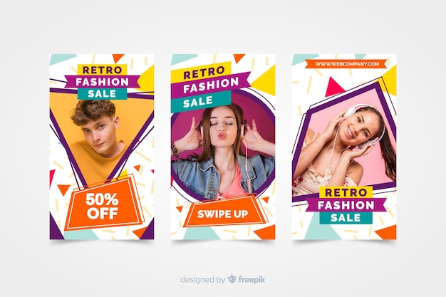 Модная распродажа инстаграм историй с фото Бесплатные векторы