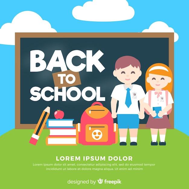 平らな子供たちが学校の背景に戻る 無料ベクター