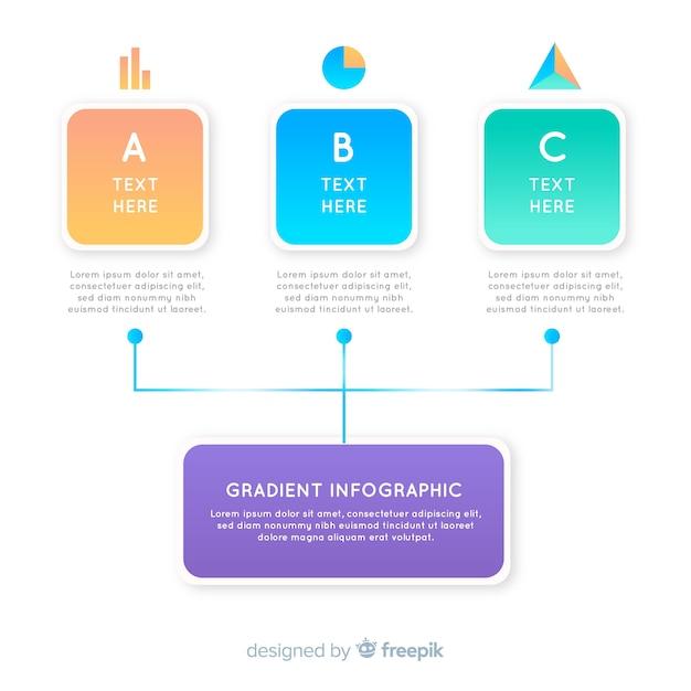 階層図とグラデーションインフォグラフィック 無料ベクター