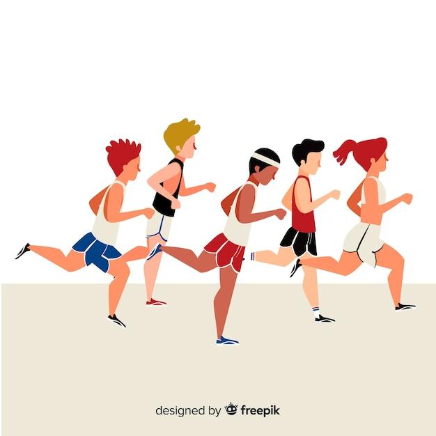 マラソンで走っている人 無料ベクター