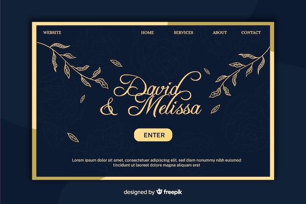 エレガントな結婚式のランディングページのテンプレート 無料ベクター