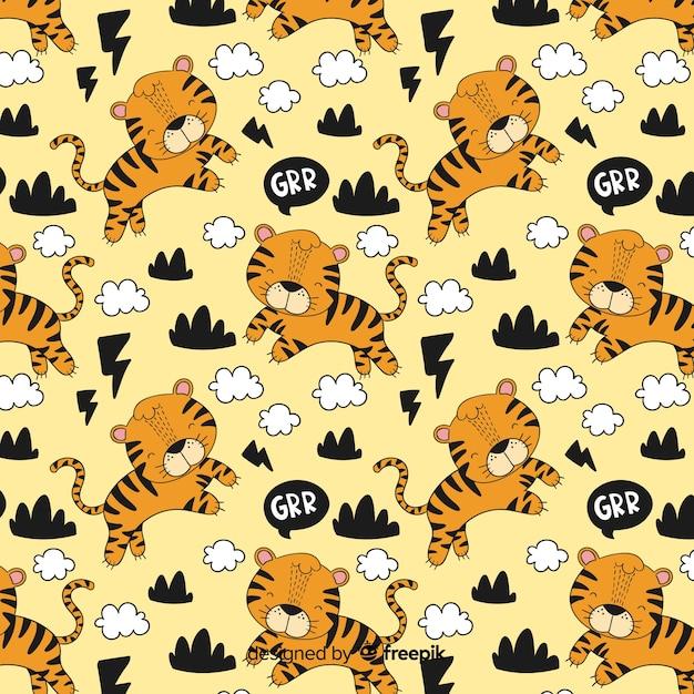手描きの虎柄の背景 無料ベクター