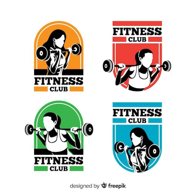 フラットフィットネスのロゴのテンプレートコレクション 無料ベクター